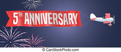 5 years anniversary vector illustration, banner, flyer,...