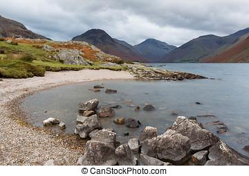 agua,  Cumbria, orilla,  Wast, Reino Unido