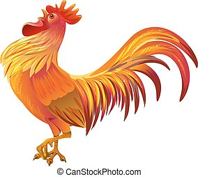 Red golden rooster symbol of 2017 by Chinese calendar....