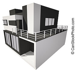 Modern house exterior isolated over white 3d - Modern...