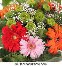 Bright bouquet - gerbera. Red, orange, rose, green flower