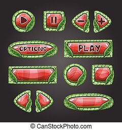 Cartoon red buttons with leaves