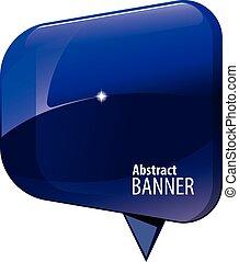 Shiny gloss blue 3d banner. Vector illustration.