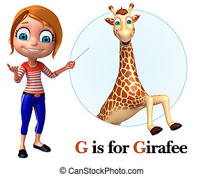 Kid girl pointing Girafee