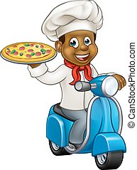 Cartoon Pizza Chef on Delivery Moped Scooter - Cartoon black...
