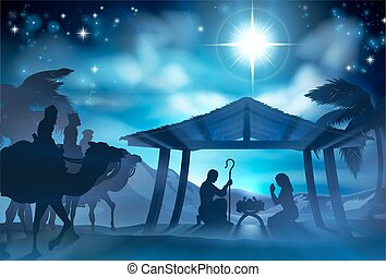 Nativity Scene With Three Wise Men - Christmas Christian...