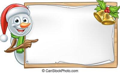 Snowman Christmas Cartoon Sign