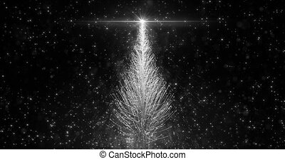 Animated White Christmas Pine Tree Star background seamless loop