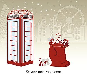 Winter greeting card with famous red English telephone booth...