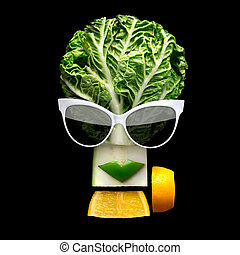 Tasty art. - Quirky food concept of cubist style female face...