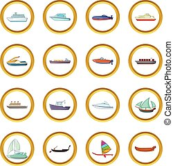 Ship and boat vector set, cartoon style - Ship and boat...