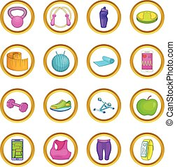 Healthy lifestyle vector set, cartoon style