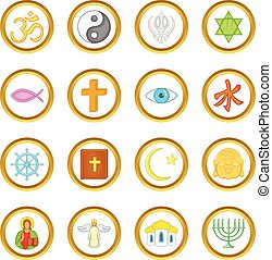 Religion vector set, cartoon style - Religion vector set in...