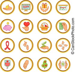 Charity organization vector set, cartoon style - Charity...