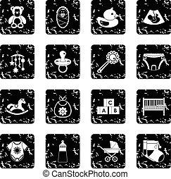 Child care icons set, grunge style - Child care icons set....