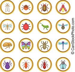 Insects vector set, cartoon style - Insects vector set in...