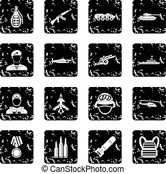 Military equipment icons set, grunge style - Military...