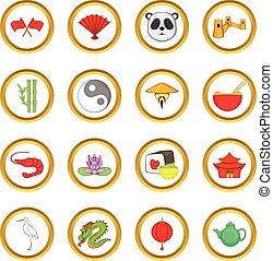 China vector set, cartoon style