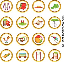 Playground vector set, cartoon style - Playground vector set...