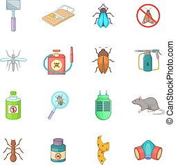Exterminator icons set, cartoon style - Exterminator icons...