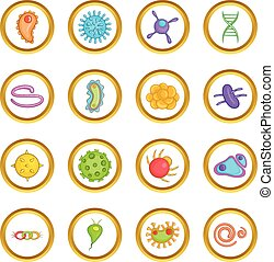 Virus vector set, cartoon style - Virus vector set in...