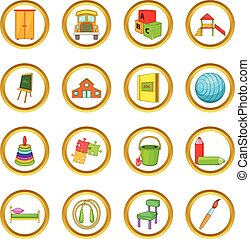 Kindergarten security vector set, cartoon style -...