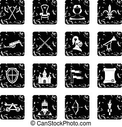 Medieval army icons set, grunge style