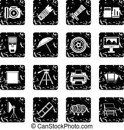 Photography icons set, grunge style - Photography icons set....