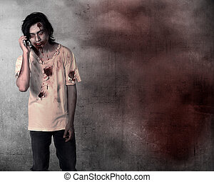 Creepy male zombie talking via cellphone over grunge...