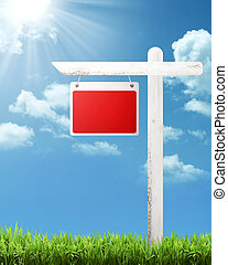 Blank Wooden Sign - Blank wooden sign with blue sky...