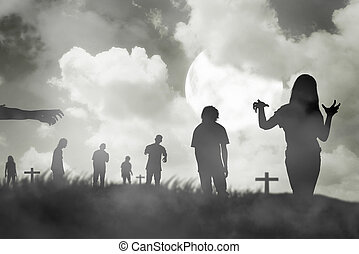 Silhouette group of zombie walking under full moon....