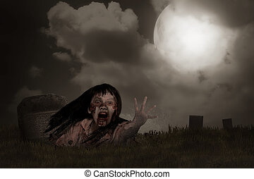 Zombie rising from graveyard. Halloween concept