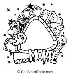 Cinema and 3d movie frame in cartoon style - Cinema and 3d...