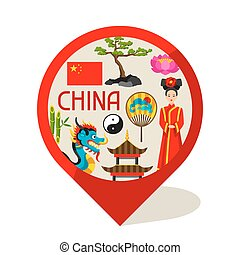 China marker design. Chinese symbols and objects
