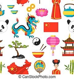 China seamless pattern. Chinese symbols and objects