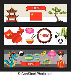 China banners design. Chinese symbols and objects