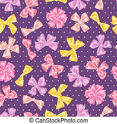 Seamless pattern with decorative delicate satin gift bows and ribbons