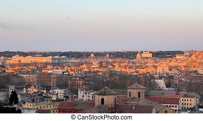 Rome in the setting sun. View from Passeggiata del...
