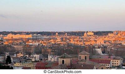 Rome in the setting sun. View from Passeggiata del...