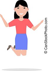 Vector cartoon woman jumping of happiness