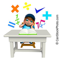 kid boy with Math signs and book
