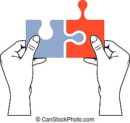 Hands joining puzzle piece - association and merger concept