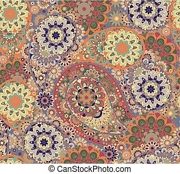 Floral paisley seamless pattern. Vector. Colorful eastern style background.