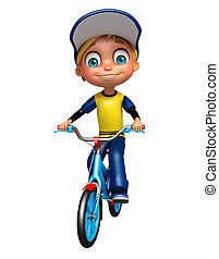 kid boy with bicycle