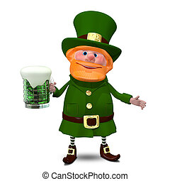 3D Illustration of Saint Patrick with Beer