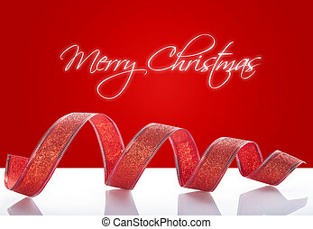 Christmas red ribbon on a white background