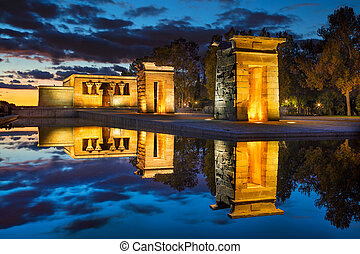 Madrid. - Image of Temple of Debod in Madrid , Spain during...