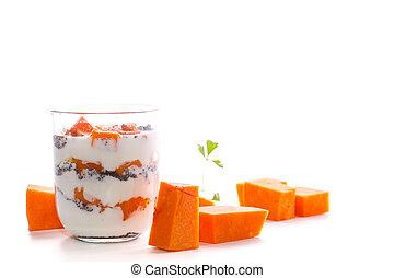 yogur, griego, cocido al horno, calabaza