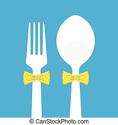 fork and spoon with butterfly tie on blue background