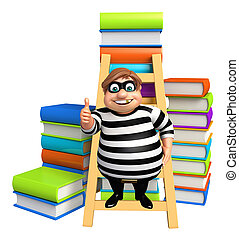 Thief with Book stack & ladder